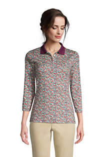 Women's Supima Cotton 3/4 Sleeve Polo Shirt, Front
