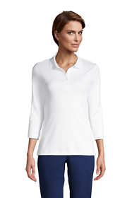 Women's Petite Supima Cotton 3/4 Sleeve Polo Shirt