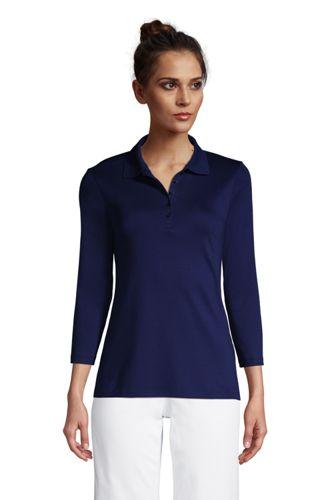 Supima-Poloshirt mit 3/4-Ärmeln für Damen
