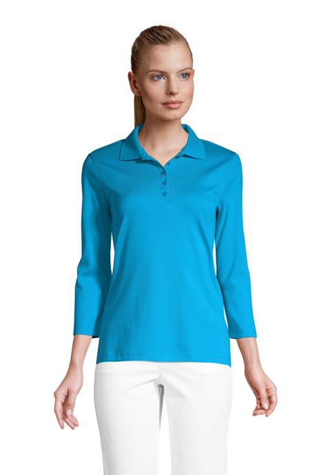 Women's Supima Cotton 3/4 Sleeve Polo Shirt