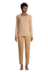 Women's Petite Lounge Pajama Set Long Sleeve T-shirt and Slim Leg Pants
