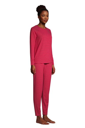 Women's Petite Lounge Pajama Set Long Sleeve T-shirt and Slim Leg Pants