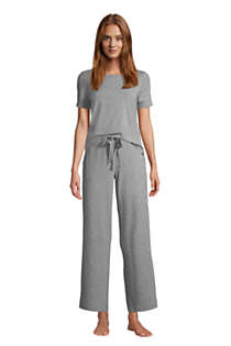 Women's Petite Lounge Mid Rise Wide Leg Crop Pajama Pants, alternative image