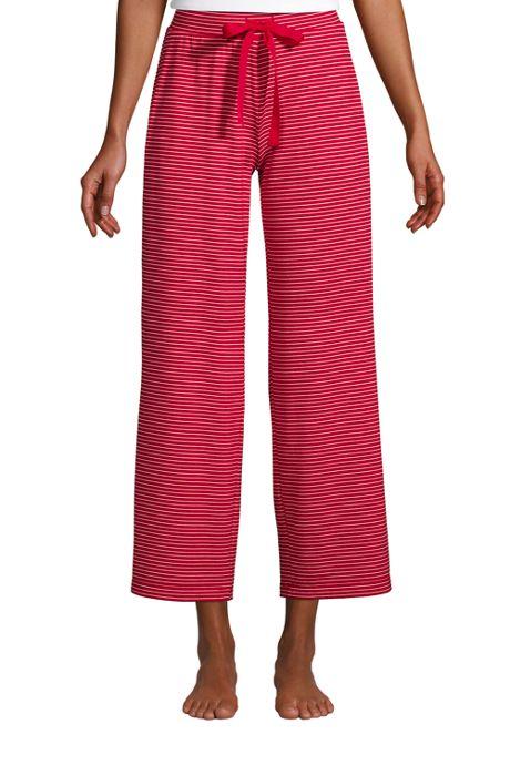 Women's Lounge Mid Rise Wide Leg Crop Pajama Pants