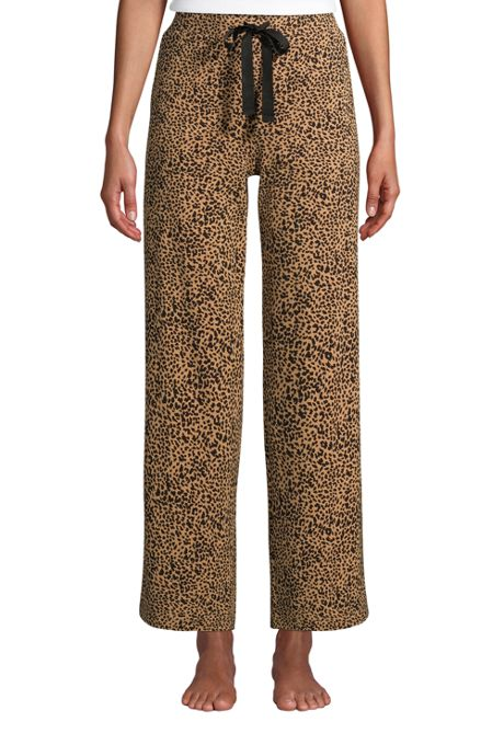 Women's Lounge Mid Rise Wide Leg Crop Pajama Pants