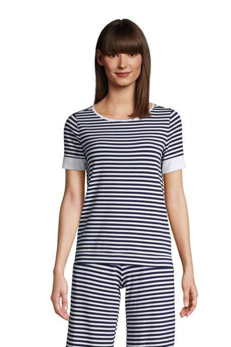 Women's Petite Lounge Short Sleeve Crewneck Pajama T-shirt