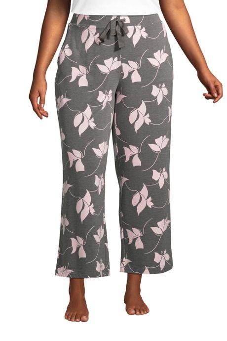 Women's Plus Size Lounge Mid Rise Wide Leg Crop Pajama Pants