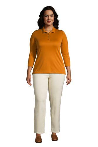 Women's Plus Size Supima Cotton 3/4 Sleeve Polo Shirt