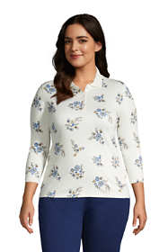 Women's Plus Size Supima Cotton 3/4 Sleeve Polo Shirt