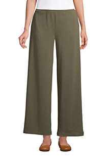 Women's High Rise Wide Leg Elastic Waist Pull On Ankle Pants, Front