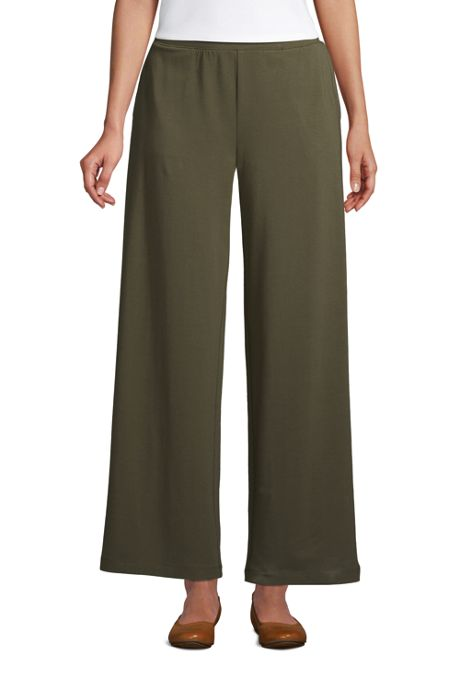 Women's High Rise Wide Leg Elastic Waist Pull On Ankle Pants