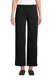 Women's Petite High Rise Wide Leg Elastic Waist Pull On Ankle Pants