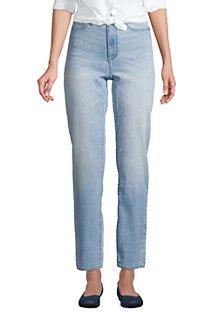 Jean 7/8  Water Conserve Droit Taille Haute Indigo, Femme