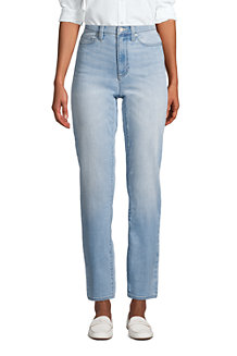 Knöchellange Straight Fit Öko Jeans High Waist für Damen