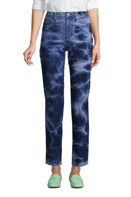 Women's Petite High Rise Straight Leg Ankle Blue Jeans