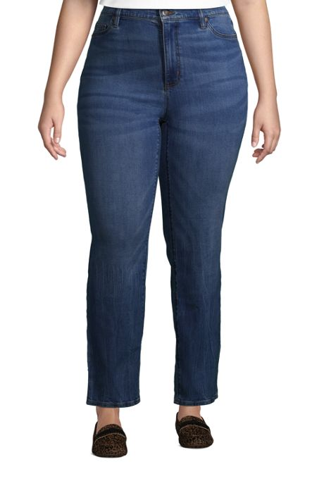Women's Plus Size High Rise Straight Leg Ankle Blue Jeans
