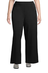 Women's Plus Size High Rise Wide Leg Elastic Waist Pull On Ankle Pants
