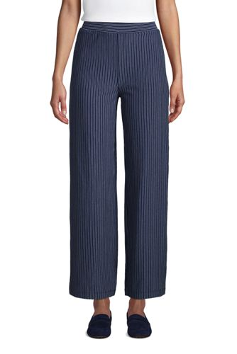 Women's Petite Cotton Modal High Waisted Wide Leg Trousers, Jacquard