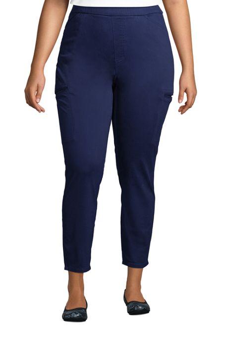 Women's Plus Size Sateen High Rise Straight Leg Cargo Ankle Pants