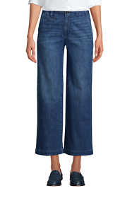 Women's Mid Rise Wide Leg Ankle Pants Indigo