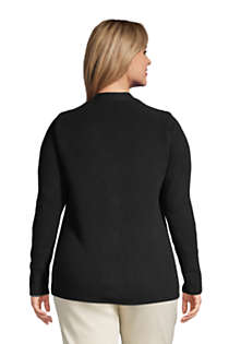 Women's Plus Size Cotton Cable Drifter Shaker Cardigan Sweater, Back