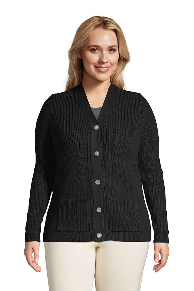 Women's Plus Size Cotton Cable Drifter Shaker Cardigan Sweater, Front