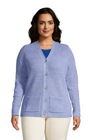 Women's Plus Size Cotton Cable Drifter Shaker Cardigan Sweater