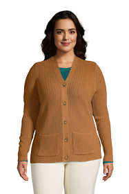 Women's Plus Size Cotton Cable Drifter Cardigan Sweater