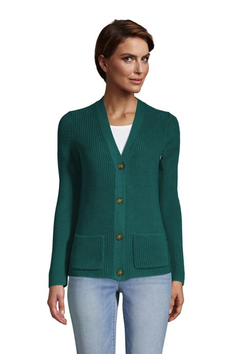 Women's Tall Cotton Cable Drifter Shaker Cardigan Sweater