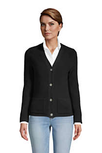 Women's Petite Cotton Cable Drifter Shaker Cardigan Sweater, Front