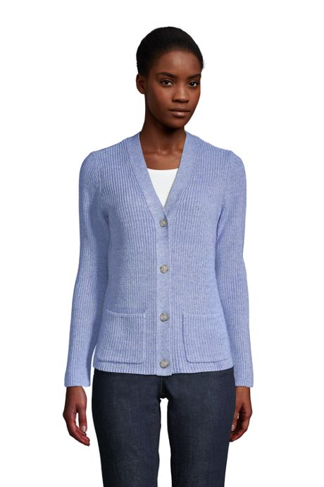 Women's Petite Cotton Cable Drifter Shaker Cardigan Sweater