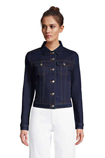 Women's Petite Denim Trucker Jacket, Front