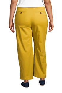Women's Plus Size Chino Mid Rise Wide Leg Ankle Pants, Back