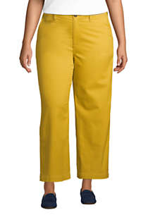 Women's Plus Size Chino Mid Rise Wide Leg Ankle Pants, Front