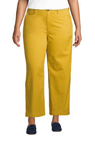 Women's Plus Size Chino Mid Rise Wide Leg Ankle Pants