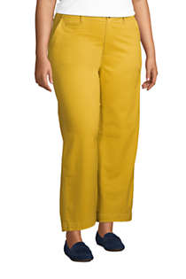 Women's Plus Size Chino Mid Rise Wide Leg Ankle Pants, alternative image