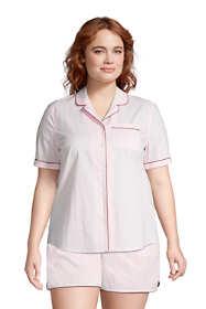 Women's Plus Size Short Sleeve Cotton Poplin Pajama Shirt