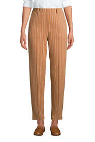 Women's Petite Sport Knit High Rise Elastic Waist Pull On Tapered Trouser Pants