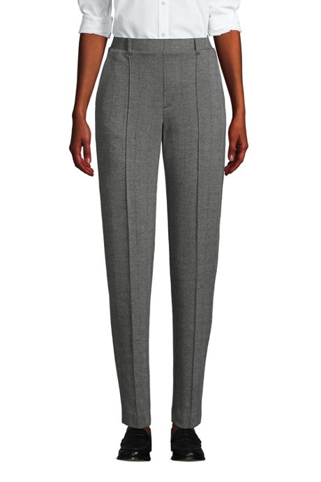 Women's Tall Sport Knit High Rise Elastic Waist Pull On Tapered Trouser Pants
