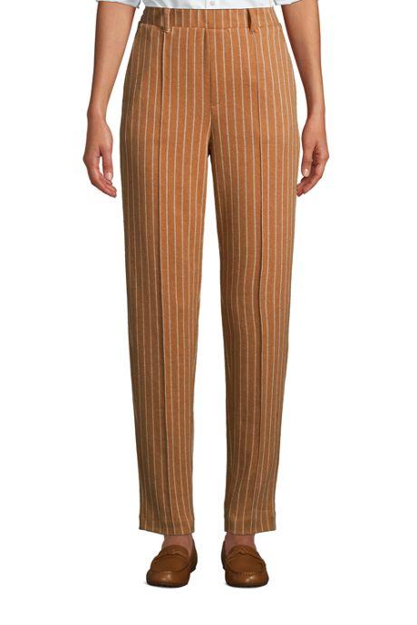Women's Sport Knit High Rise Elastic Waist Pull On Tapered Trouser Pants