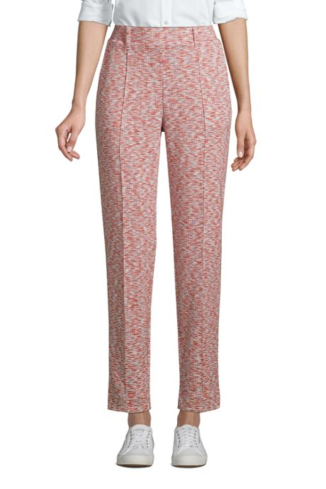 Women's Petite Sport Knit High Rise Elastic Waist Pull On Tapered Trouser Pants