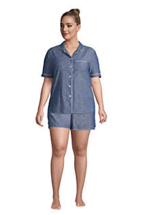 Women's Plus Size Short Sleeve Cotton Chambray Pajama Shirt, alternative image