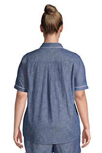 Women's Plus Size Short Sleeve Cotton Chambray Pajama Shirt, Back