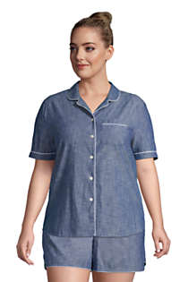 Women's Plus Size Short Sleeve Cotton Chambray Pajama Shirt, Front