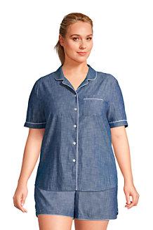 Women's Short Sleeve Cotton Chambray Pyjama Shirt