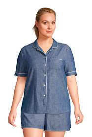 Women's Plus Size Short Sleeve Cotton Chambray Pajama Shirt