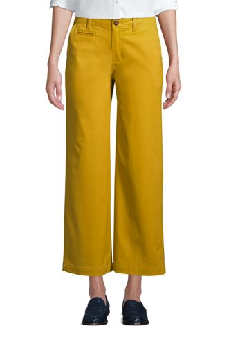 Pantalon Chino 7/8 Large Stretch Taille Mi-Haute, Femme Stature Standard