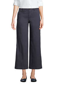 Women's Petite Chino Mid Rise Wide Leg Ankle Pants