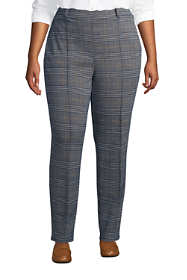 Women's Plus Size Sport Knit High Rise Elastic Waist Pull On Tapered Trouser Pants