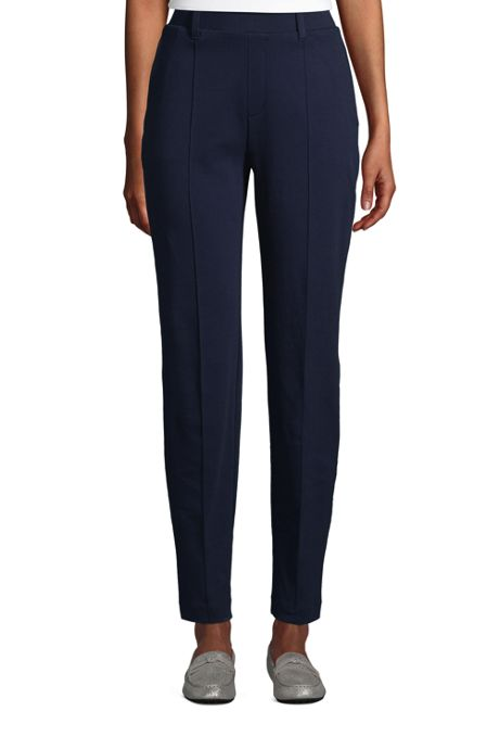 Women's Petite Sport Knit High Rise Elastic Waist Pull On Tapered Trousers